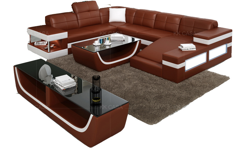 [Hot Item] Design Italian Leather Furniture 8 Seater Sofa Set for Villa