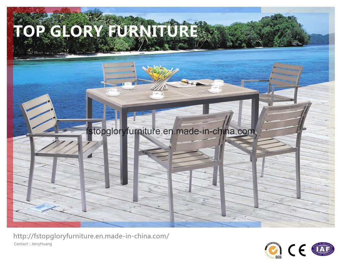 China Outdoor Aluminium Frame Polywood Furniture Dining Set Tg 1751