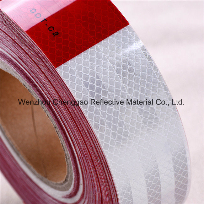 Red and White Mirco Prismatic DOT Reflective Tape for Vehicle (C5700-B(D))