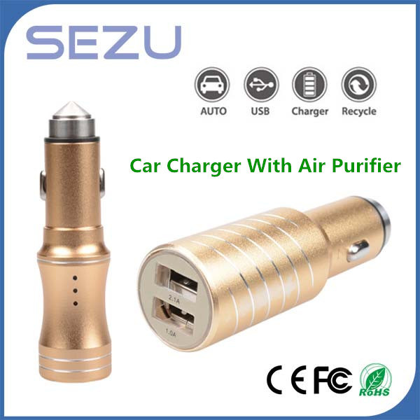 2 in 1innovative USB Car Charger with Air Purifier