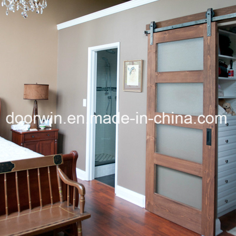 China Oakpine Wood Frosted Glass Barn Door Interior Door Sliding