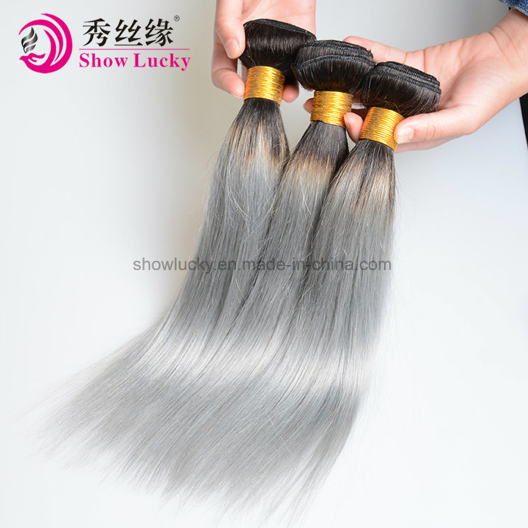 Hot Beauty 9A Grade Raw Indian Human Hair Weaving Straight Ombre 1b/Grey Hair pictures & photos