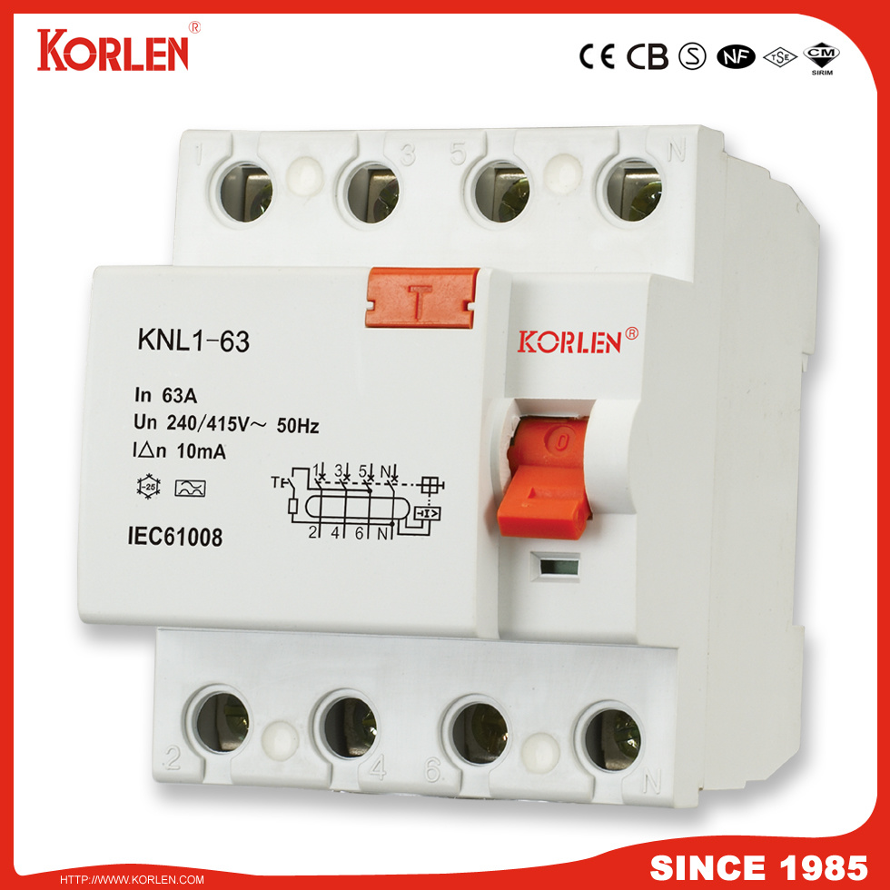 China Korlen Residual Current Circuit Breaker Rccb Knl1 63 F360 How Does A Work Series With Ce Cb 3ka16a 25a 32a 40a 50a 63a 30ma
