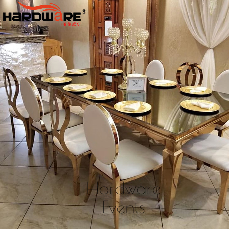 China Living Room Furniture Sets Mirrored 12 Seater Gold Stainless Steel Glass Dining Table China Hotel Lobby Round Table 10 Seater Glass Rectangle Table