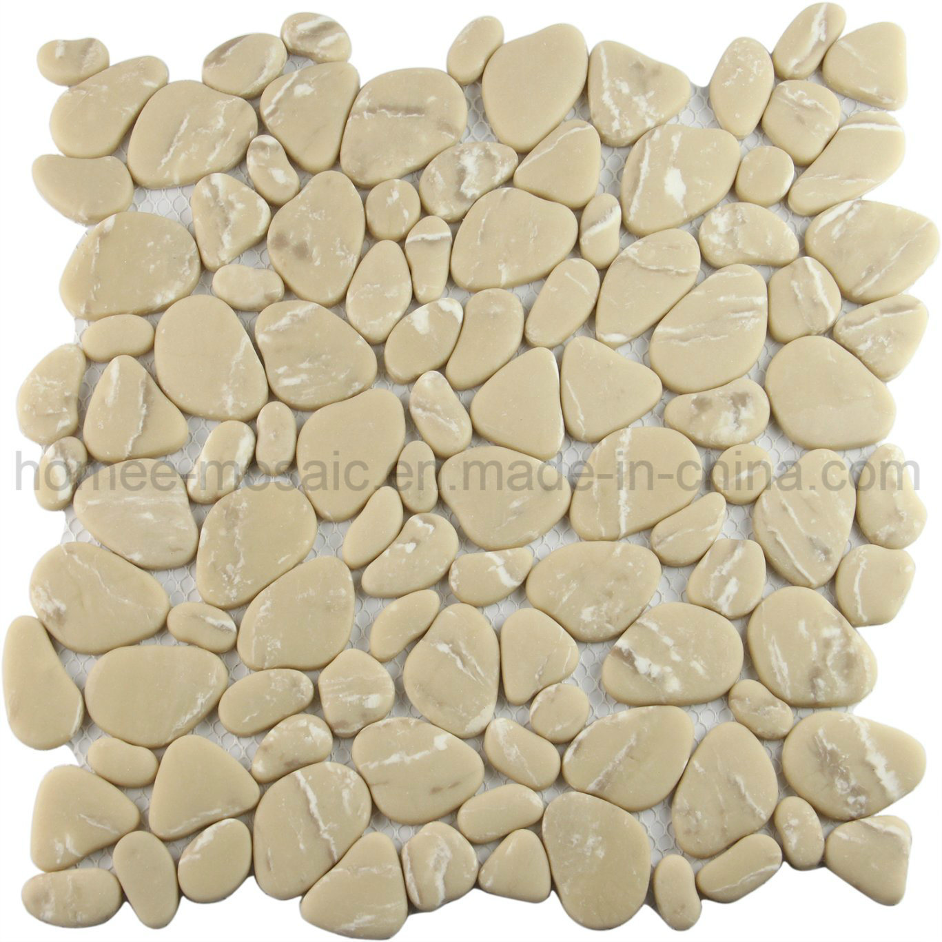 Hot Item Building Materials Light Brown Gl Pebble Mosaic Tile For Floor