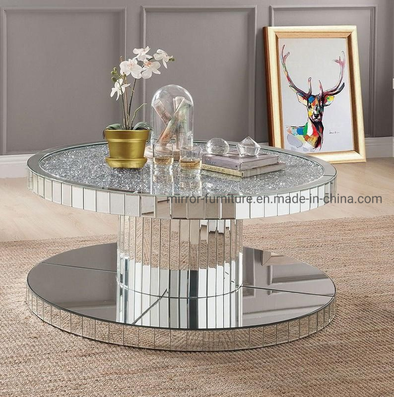 Hot Item New Patented Round Crushed Diamonds On Top Mirrored Coffee Table