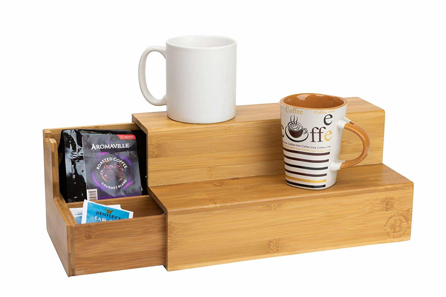 China Bamboo Coffee Organizer With Side Drawer For K Cup Pods And Tea Bags Sugar More Elegant Breakfast Station Kitchen Office