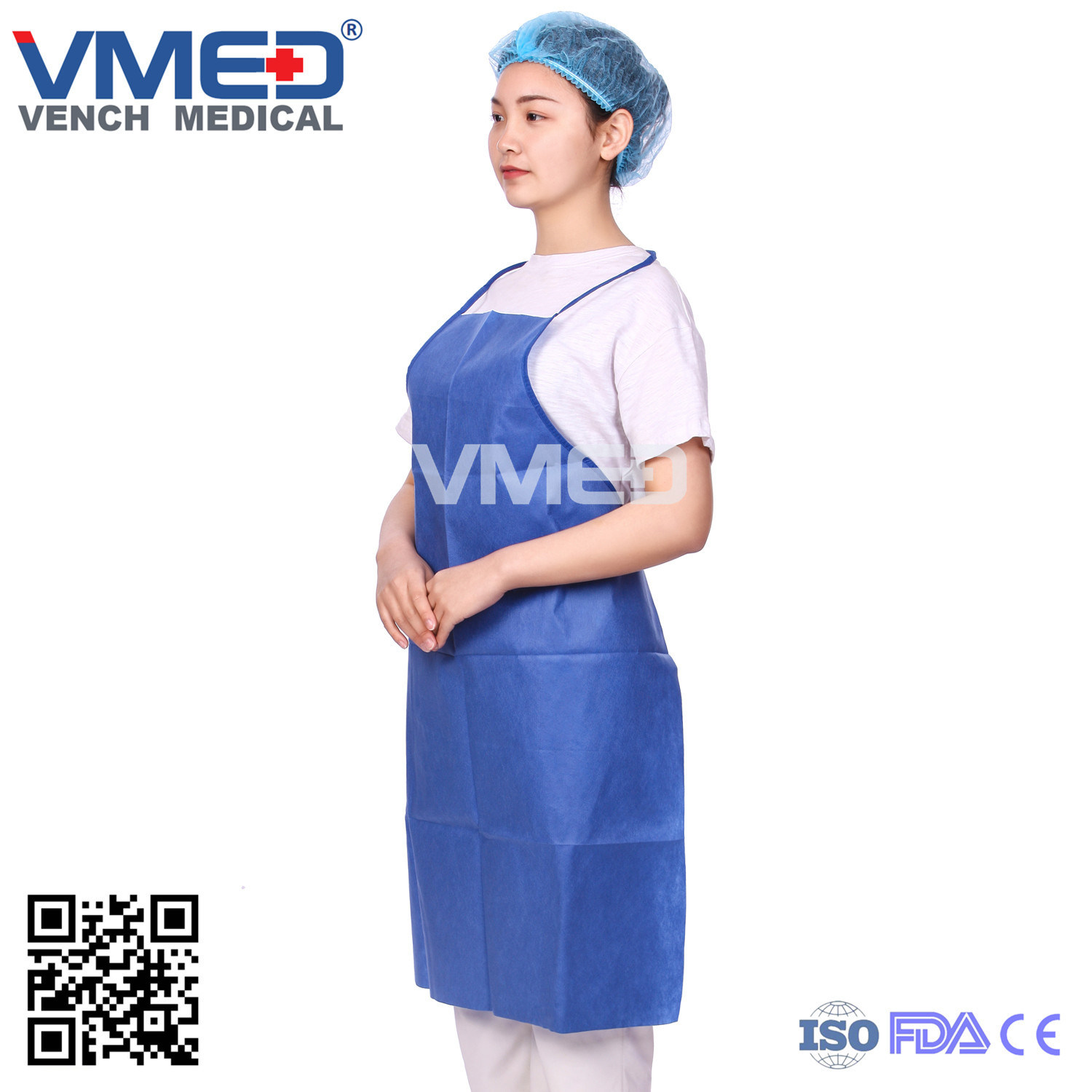 Blue Non Woven Kitchen Cooking Apron, Wholesale Factory Multifunctional Non -Woven Apron, Disposable Kitchen /Surgical/ Hospital Apron pictures & photos