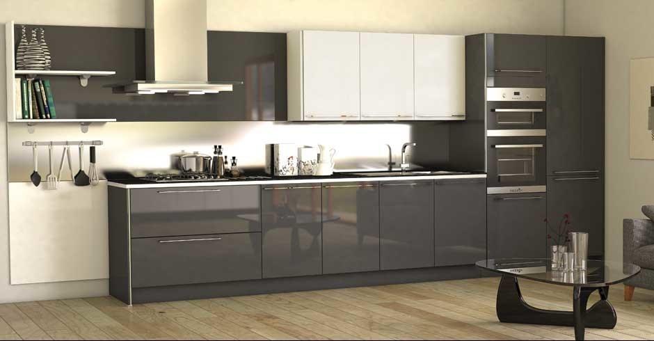 China Painted High Gloss Grey Modular Kitchen Cabinet ...