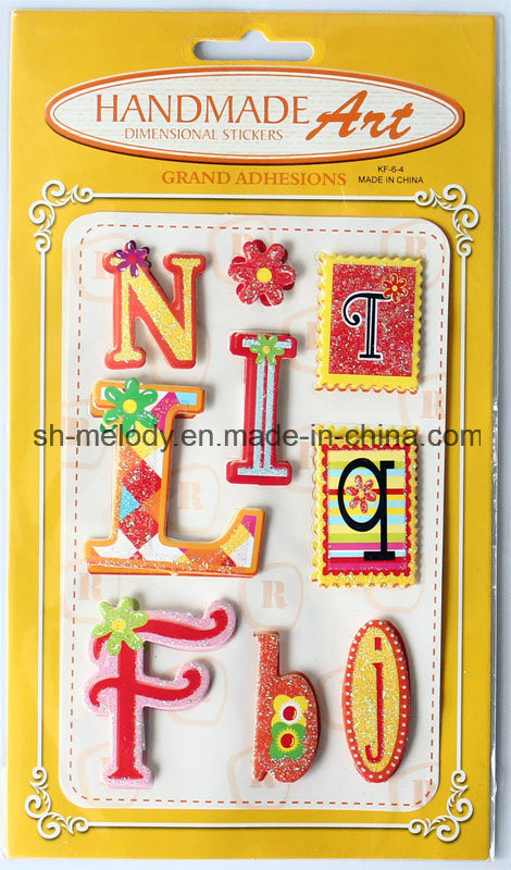 Glittered 3D Stickers/Dimensional Stickers/Handmade Stickers for Scrapbooking and Card Making