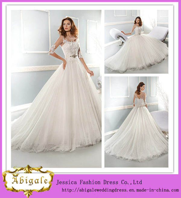China New Arrival White Full Length Ball Gown Boat Neckline Half