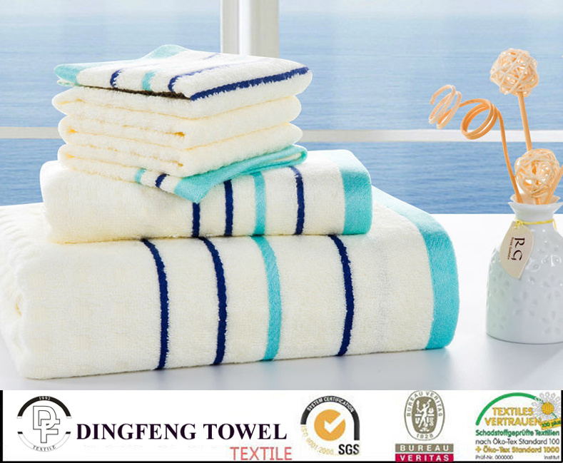 Hot Selling 2016 Solid Color Satin Boarder Series Plain Weaving 100% Bamboo Beach Towel Set Df-N127