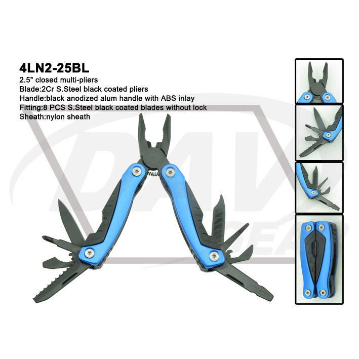 "4""Blue Anodized Alum Handle Multi-Tools with Black Pliers: 4ln1-40blbk pictures & photos"
