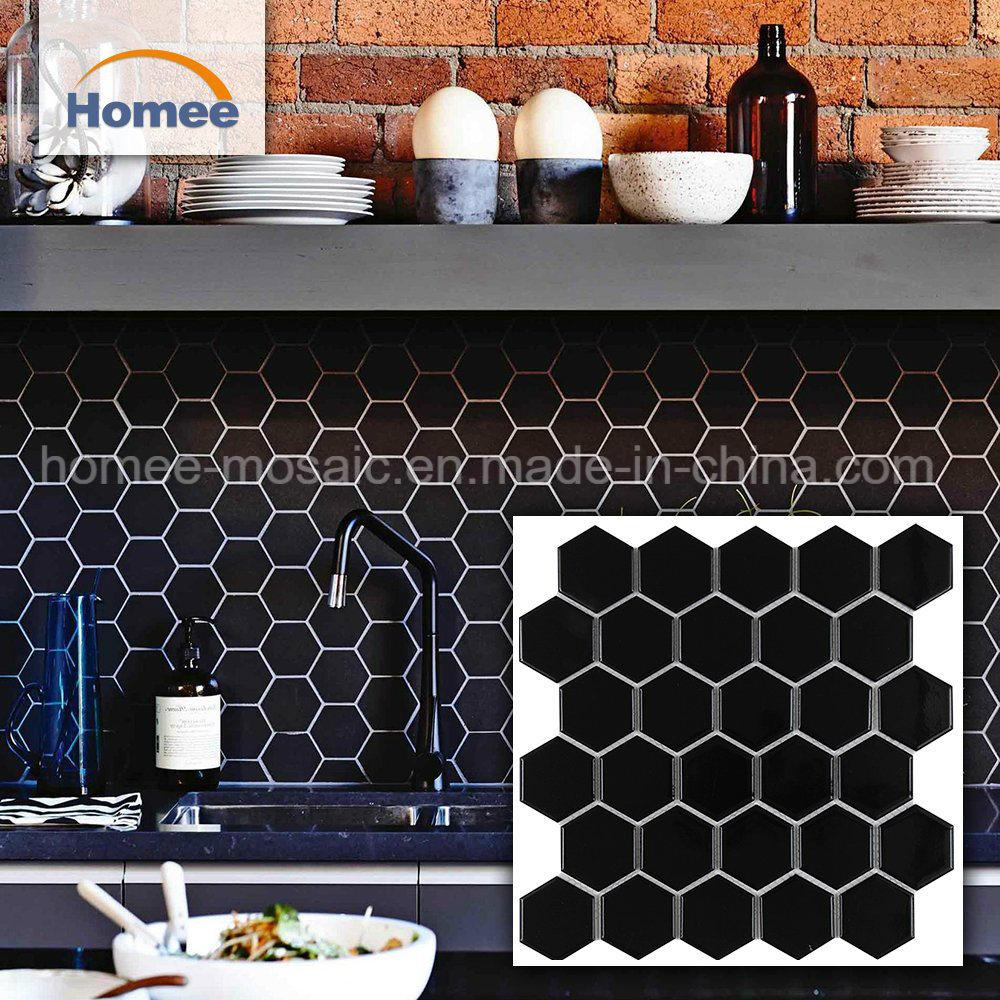 - China Best Wholesale Backsplash Mosaic Black Hexagon Mosaic