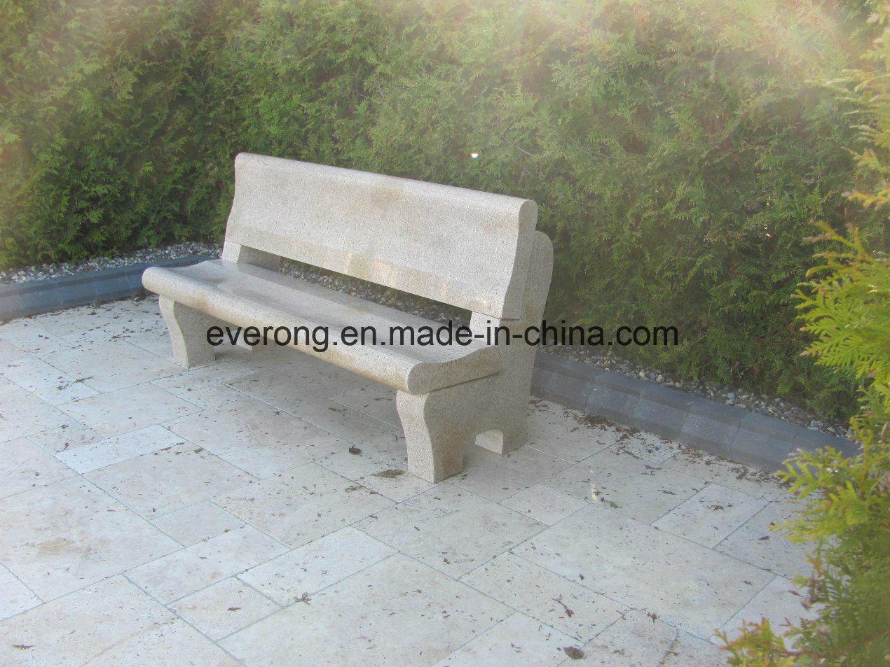 Clic Design Light Grey Granite Garden Stone Bench With Back