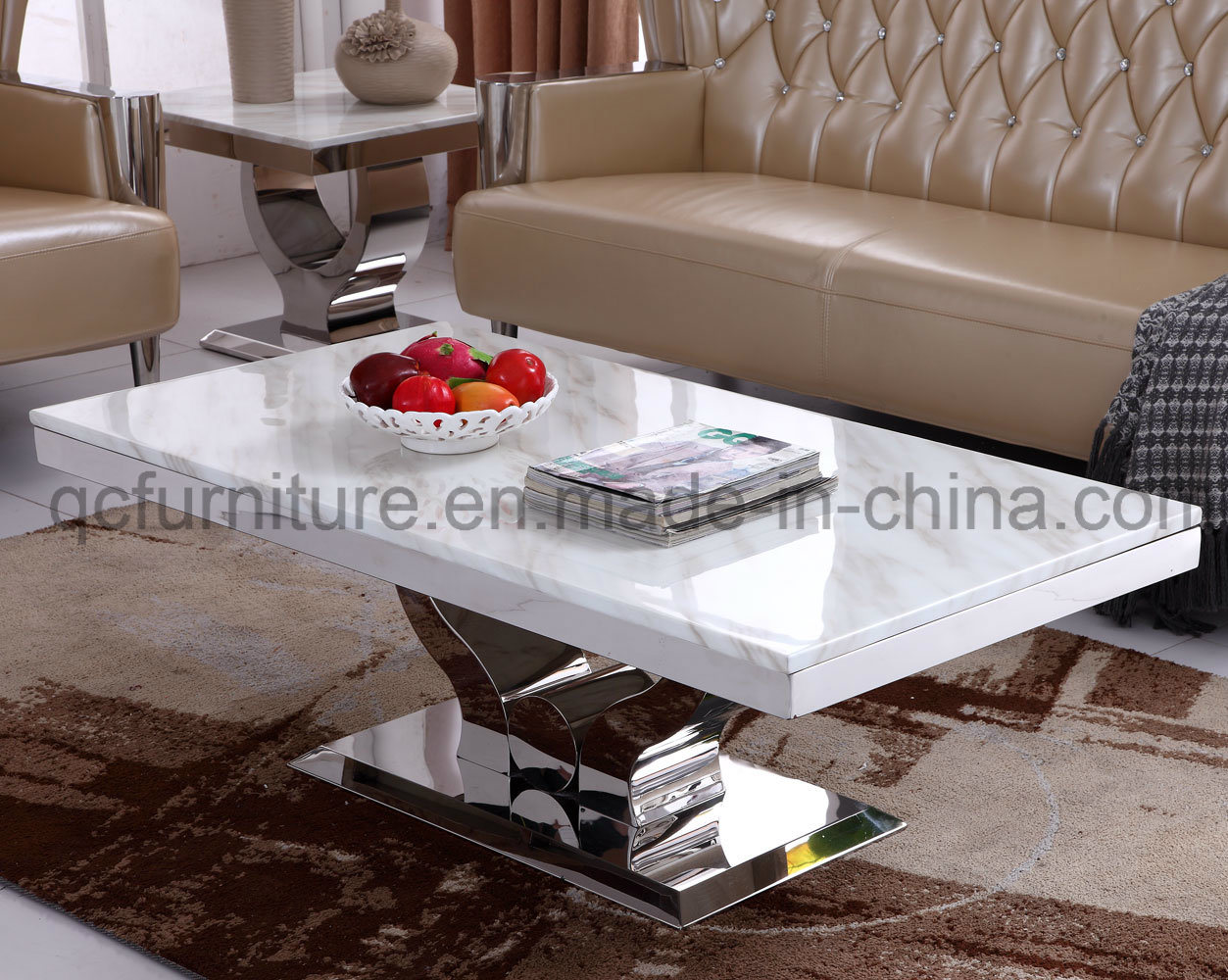 Marble And Silver Coffee Table.Hot Item White Marble Silver Stainless Steel Coffee Table For Living Room