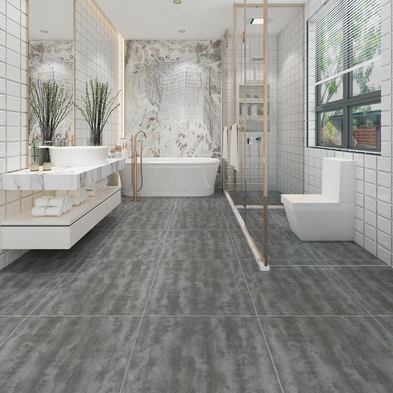 Stone Cau Charcoal Tile Bathroom