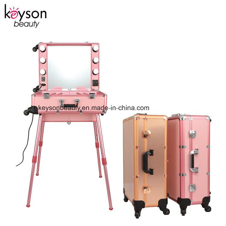 Hot Item Keyson Pink Rolling Studio Aluminum Makeup Artist Cosmetic Vanity Case With Light