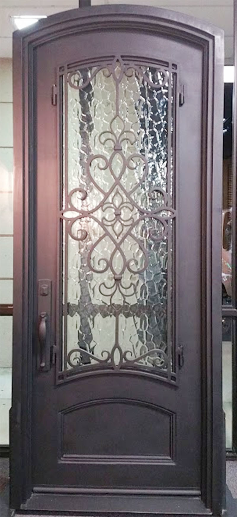 China Square Top Modern Custom Single Iron Entry Door With