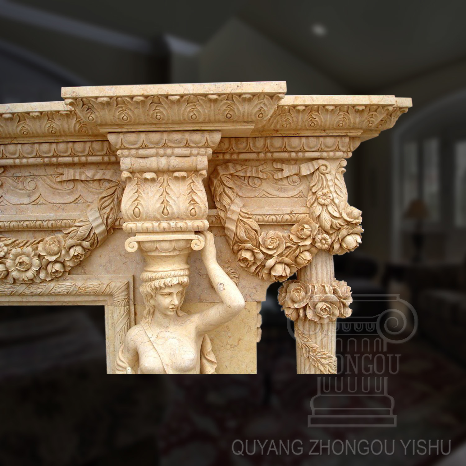 Decoration Beige Granite Stone Carving Figure Sculpture Marble Fireplace