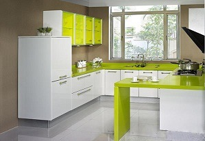 China Light Green Kitchen Cabinet With Easy To Clean Table Top Furniture