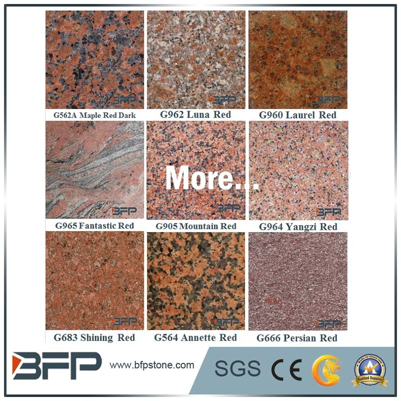 China Natural Red Granite Floor Tile With Polishedflamed Surface