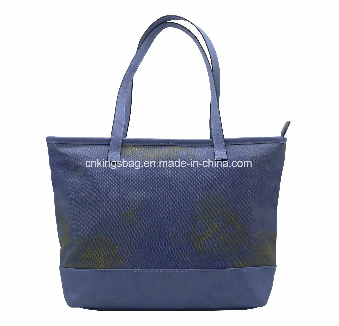 aeb2a263285 16oz Canvas Beauty Lady Tote Bag Colour with PU Combined Grey Blue Colour