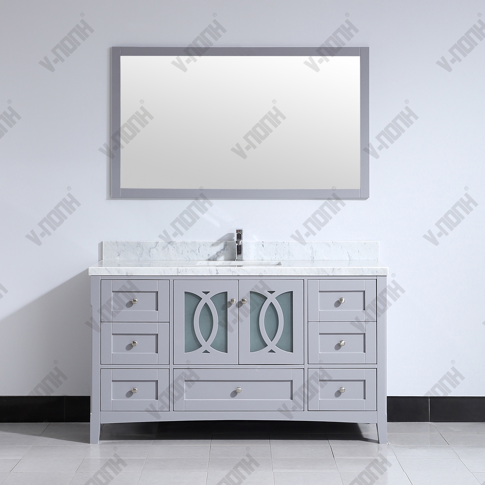 China 60 Inch Single Sink Solid Wood
