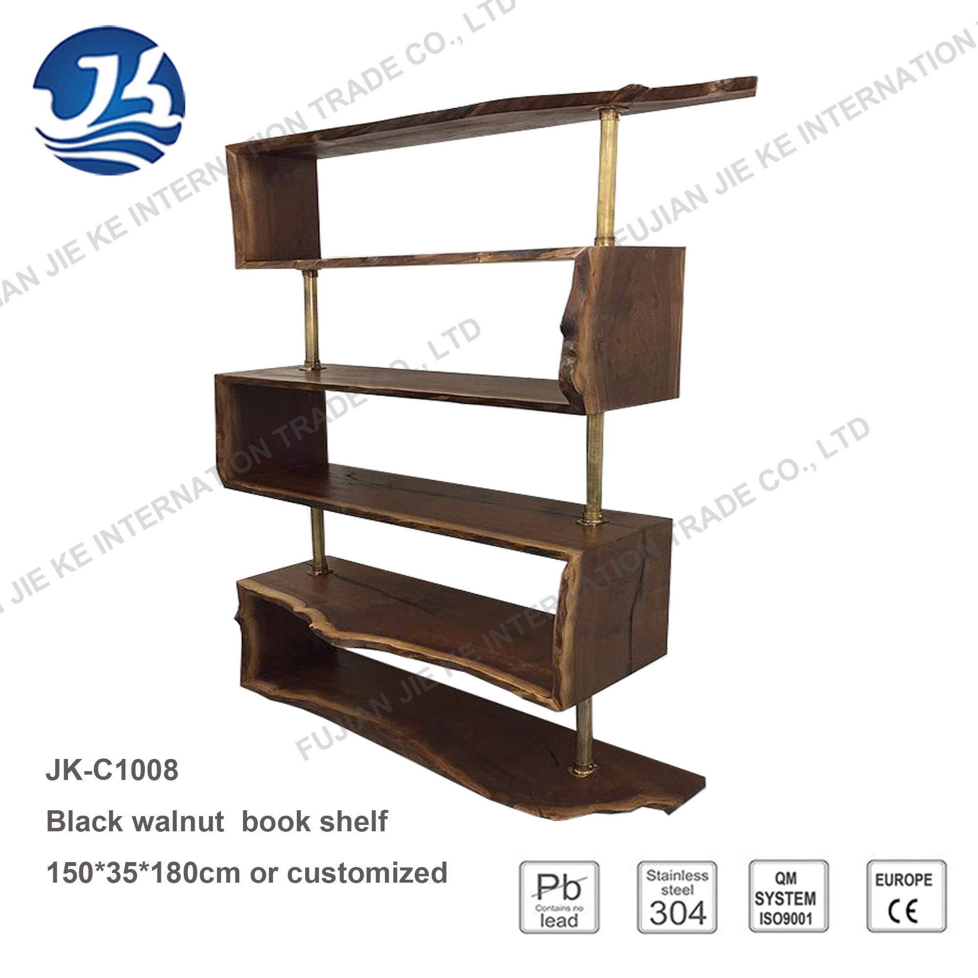 Hot Item Black Walnut Wood Book Shelf With Bronze Stainless Steel Frame