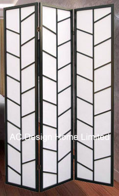 Black Color Decoration Rice Paper Non Woven And Wooden Anese Style Folding Shoji Screen Room Divider X 3 Panel