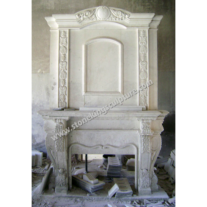 Carved White Marble Fireplace (SK-21888) pictures & photos