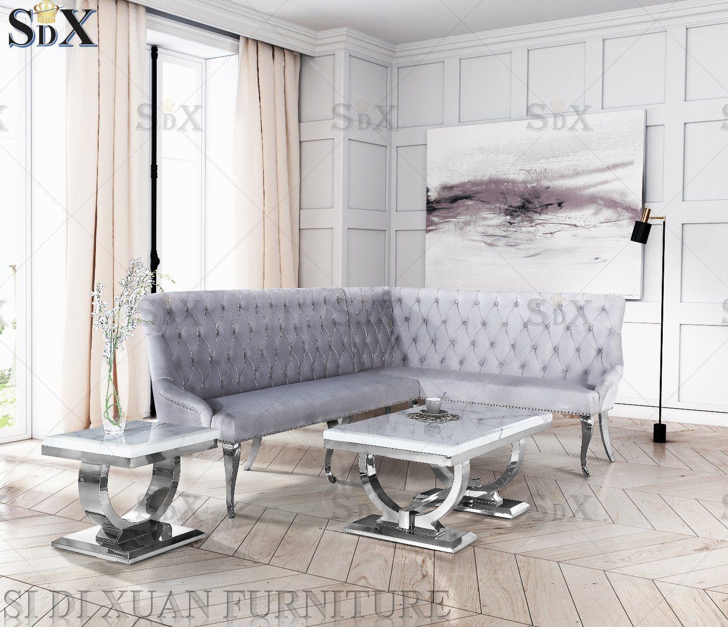 [Hot Item] Stainless Steel Modern Italian Living Room Sofa Tea Table /  Circle Leg Glass Coffee Table