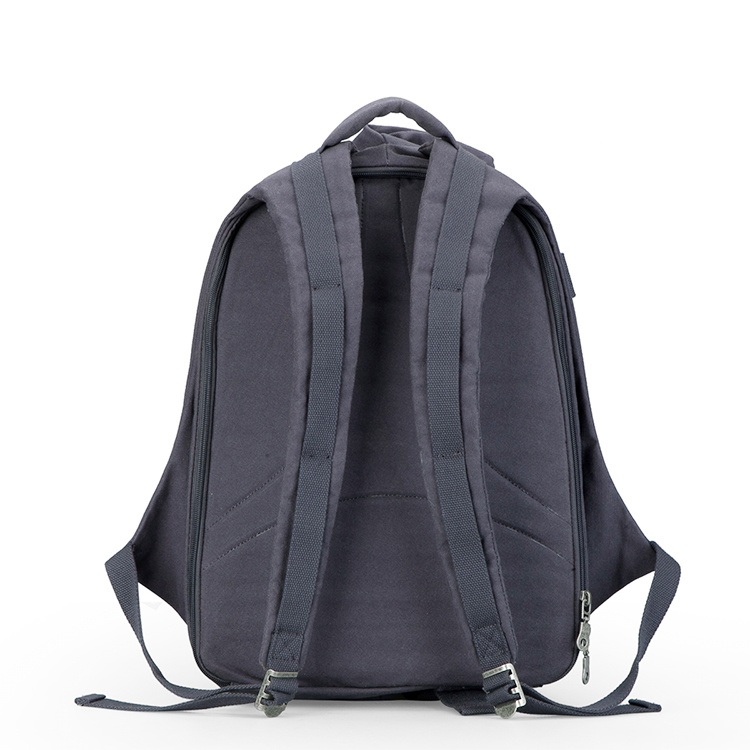 Custom Classic Schoolbags Durable Zipper Canvas Backpack with USB Charger 8e7e96c2c88d8