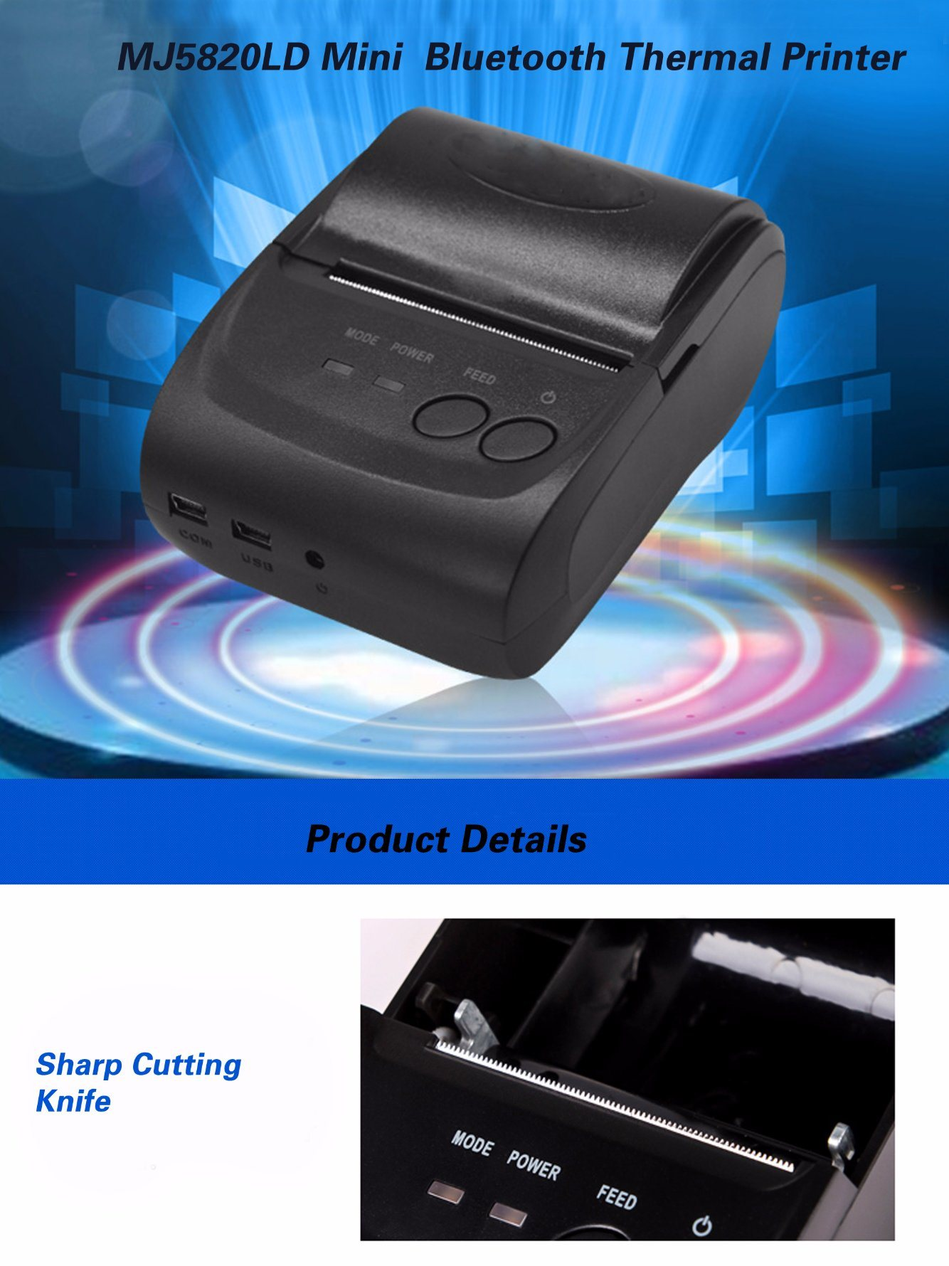Mini Printer Bluetooth 58mm 5802 Daftar Harga Terbaru Dan Portable Thermal Receipt Zjiang 5807 Li Ion Batter Printing Machine Ideal