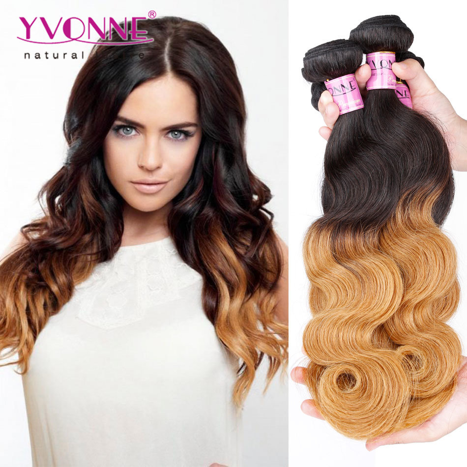 China Yvonne Best Selling Virgin Peruvian Human Ombre Hair Weave