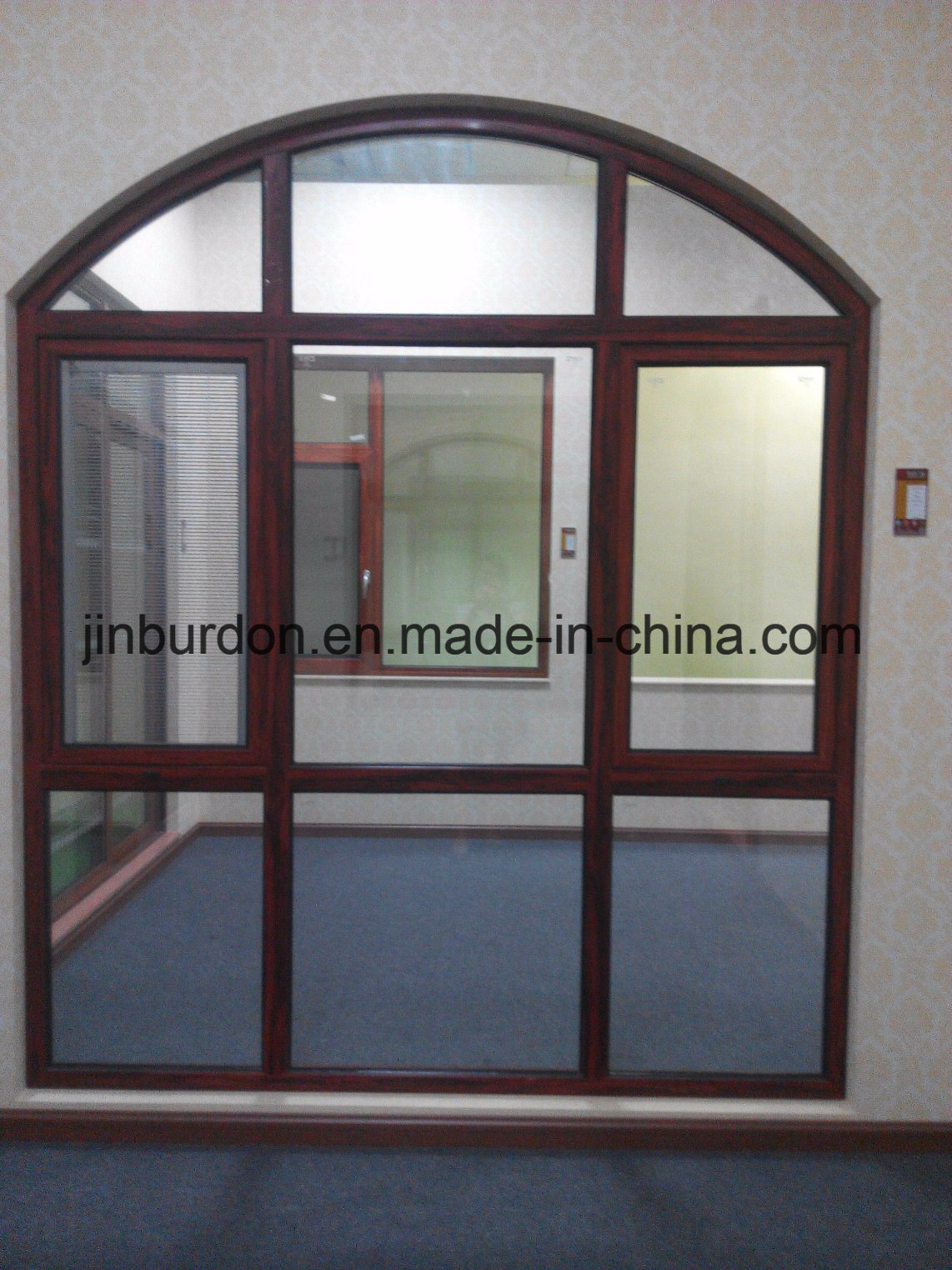 Aluminium curved window with double glazing for customized house