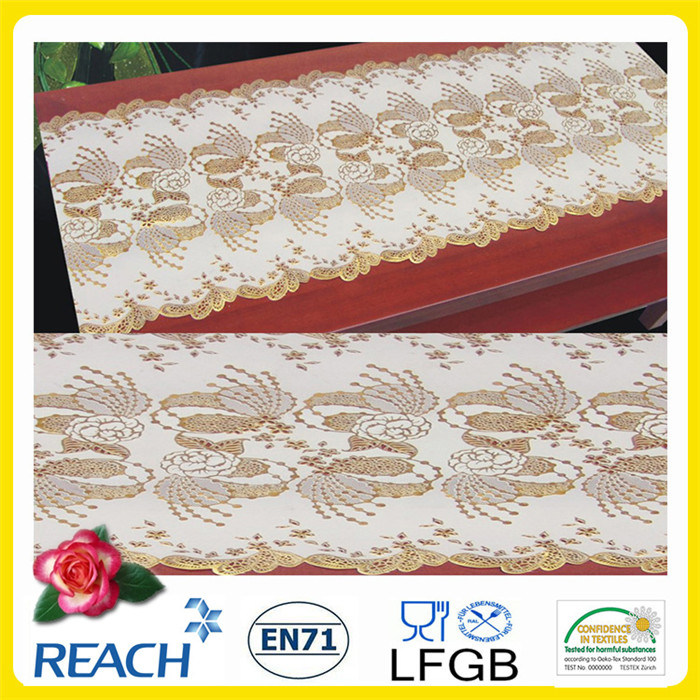 China Cheap Wholesale 50cm Width Crochet Pvc Long Lace Tablecloth