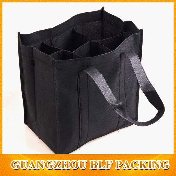 Custom Black Wine Bottle Non Woven Bag Shopping (BLF-NW114)