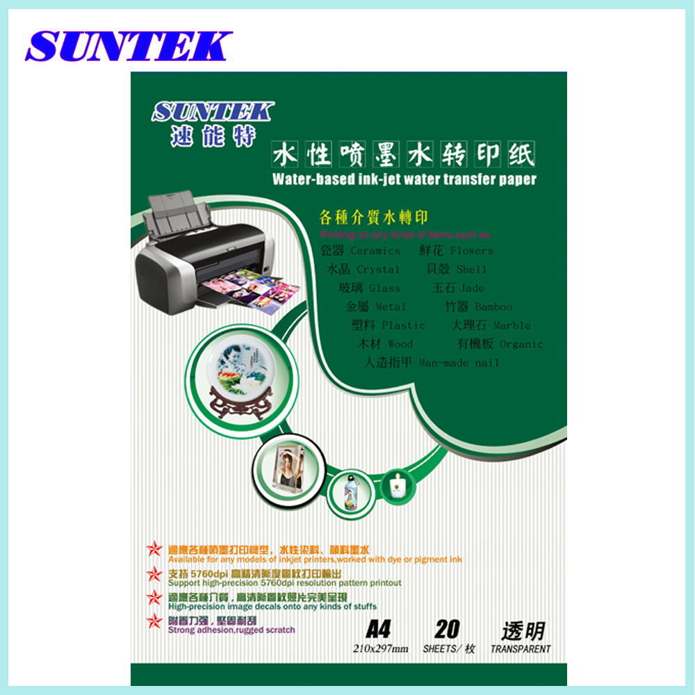 China Suntek A4 Transparent Water Transfer Paper For Ceramic Inkjet