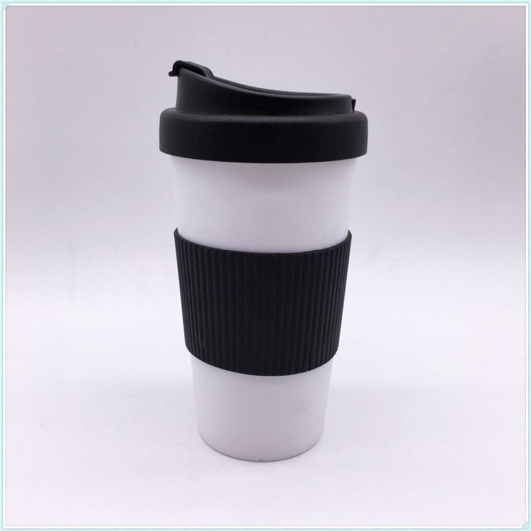 Hot Item Mug With Silicone Band Pp Body Plastic Coffee Pe Lid White