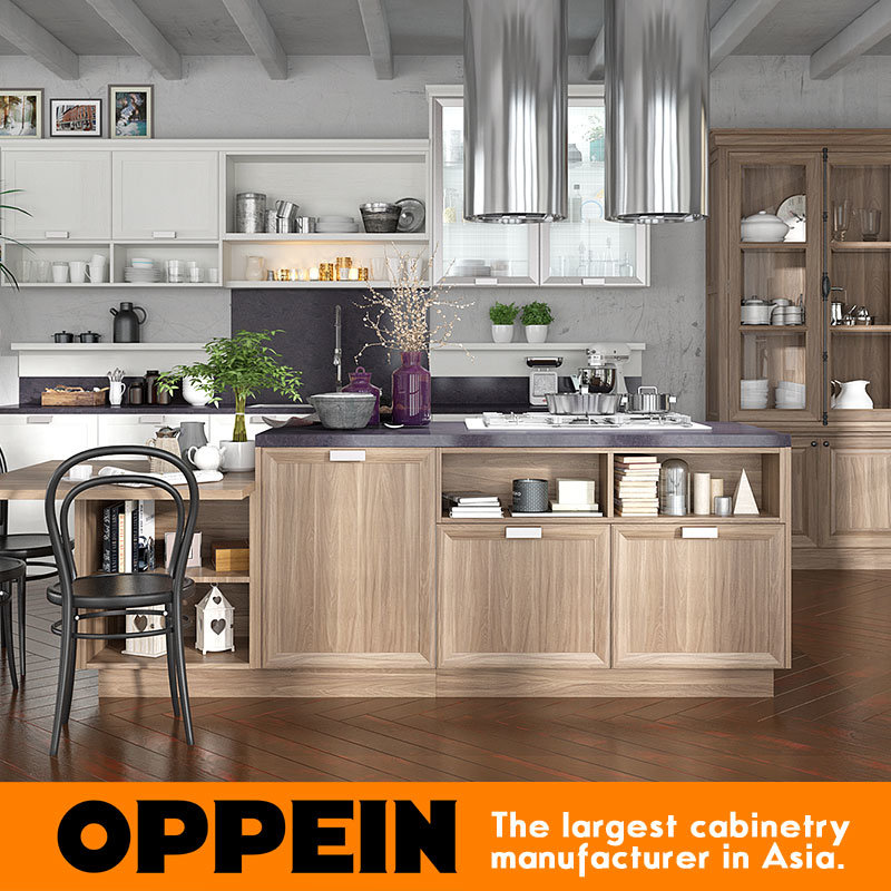 Hot Item Oppein American Standard Vinyl Wrapped Pvc Complete Kitchen Cabinets Op17 Pp04