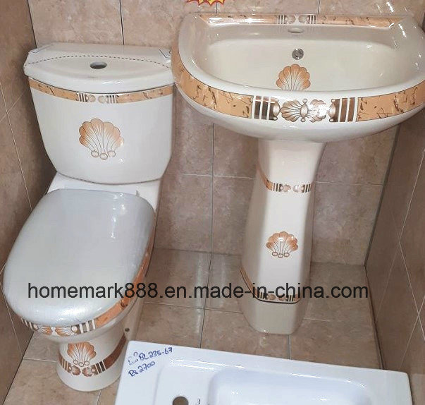 China Bathroom Set Toilet And Wash Basin With Golden Decoration Sanitary Ware China Toilet Decorated Toilet