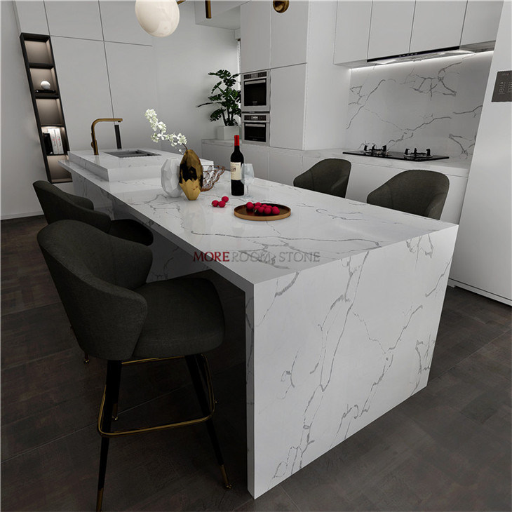 Manmade Kitchen Marble Benchtop Calacatta White Quartz Stone Slab