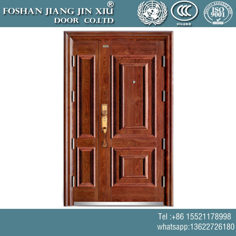 China Stainless Steel Metal Interior Double Door With Wood Paint