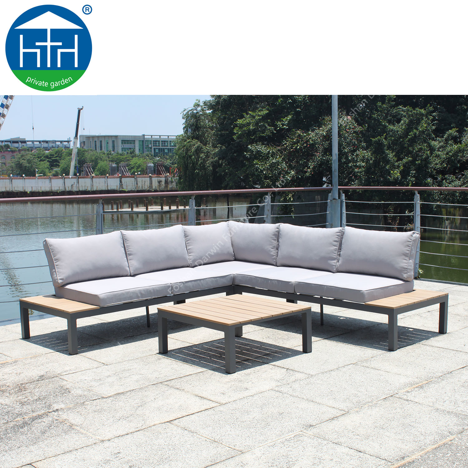 China Modular L Shape Sofa Patio Use Poly Wood Coffee Table Outdoor Garden Furniture China Sectional Outdoor Sofa Patio Sofa Lounge