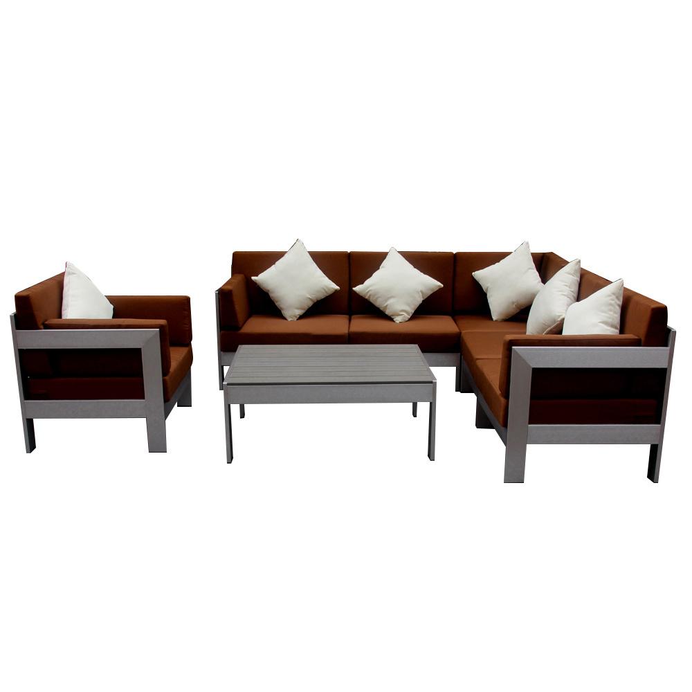 [Hot Item] Minimalist Stainless Steel Aluminum Modern Metal Corner Sofa Set  Garden Outdoor Leisure Combination Furniture