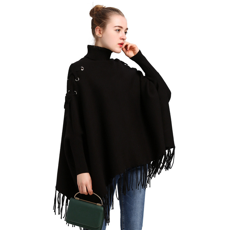 High Collar Bat Sleeve Fringed Pullover Knitted Cloak pictures & photos