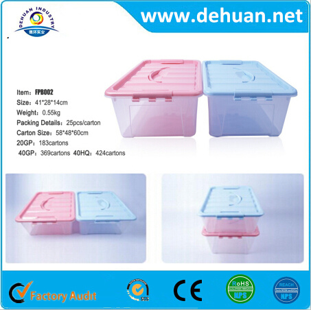China Luxury Underwear Plastic Storage Container Box with Handle for