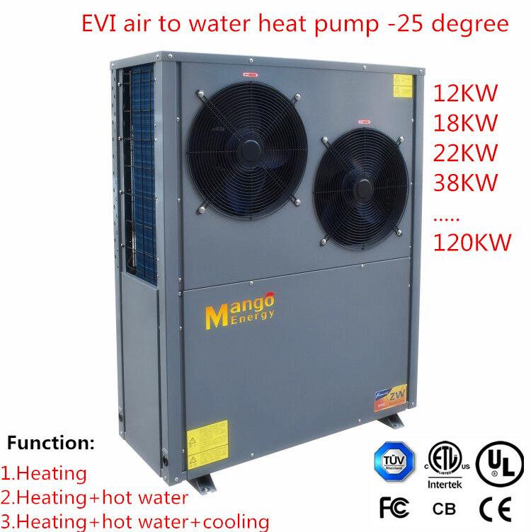 12.8-18.8kw Low Ambeint Temperature Area (low to -25C) High Efficient Evi Air to Water Heat Pump