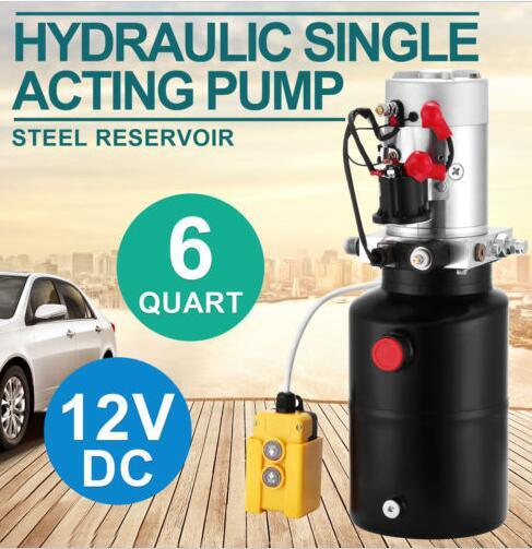 6 Quart Single Acting Hydraulic Pump 12V Hydraulic Power Unit Dump Trailer